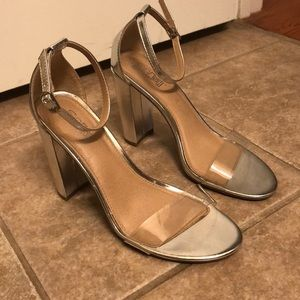 Brash Silver & Clear Block Heels